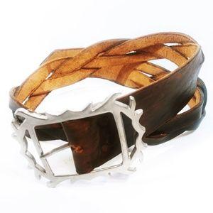 Ladies Vintage Braided Genuine Leather Belt Small